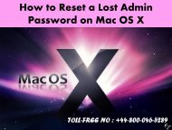 How to Reset a Lost Admin Password on Mac OS X +44-800-046-5289