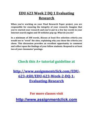 ASH EDU 623 Week 2 DQ 1 Evaluating Research