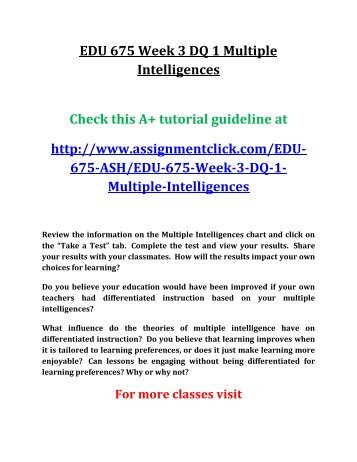 Ash Edu 675 Week 6 Final Paper Differentiated Instruction Research Paper