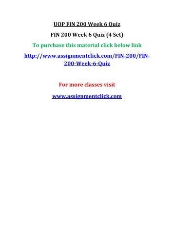 UOP FIN 200 Week 6 Quiz