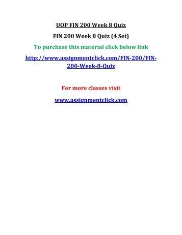 UOP FIN 200 Week 8 Quiz