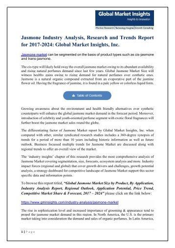 Jasmone Market Statistics and Research Analysis 2017-2024