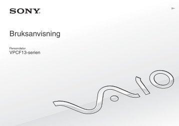 Sony VPCF13L8E - VPCF13L8E Mode d'emploi Suédois
