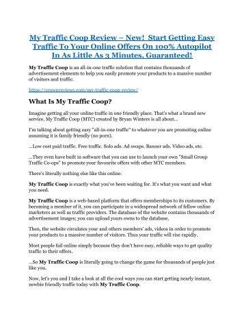 My Traffic Coop Review-(GIANT) bonus & discount