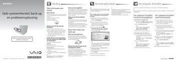 Sony VPCEE3E1E - VPCEE3E1E Guide de dépannage Néerlandais