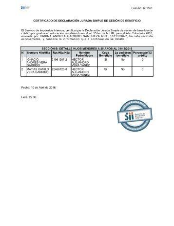 Certificado DJ Cesion Beneficio