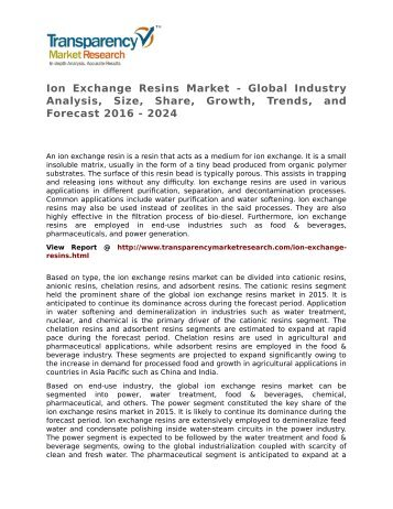 Ion Exchange Resins Market - Global Industry Analysis, Size, Share, Growth, Trends, and Forecast 2016 - 2024