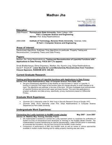 Madhav Jha - Penn State Personal Web Server - Pennsylvania State ...