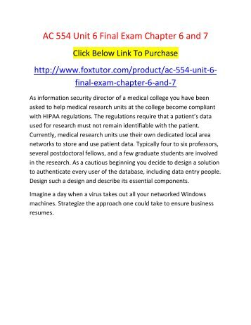 AC 554 Unit 6 Final Exam Chapter 6 and 7