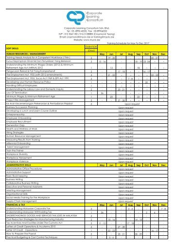 CLC Soft skill & IT training schedule