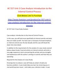 AC 557 Unit 3 Case Analysis Introduction to the Internal Control Process