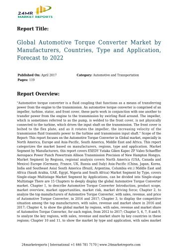 Global Automotive Torque Converter Market by Manufacturers, Countries, Type and Application, Forecast to 2022