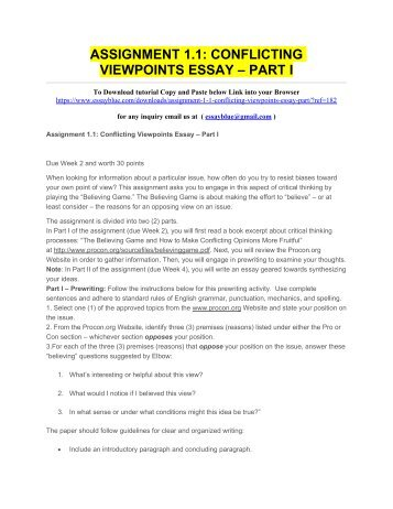 Assignment  Conflicting Viewpoints Essay  Part I  Science Essays also How To Write A Research Essay Thesis  Best Business School Essays