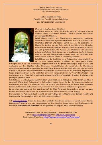 Isabel Blanco del Piñal: Geschichte, Geschichten und Gedichte aus der spanischen Maurenzeit