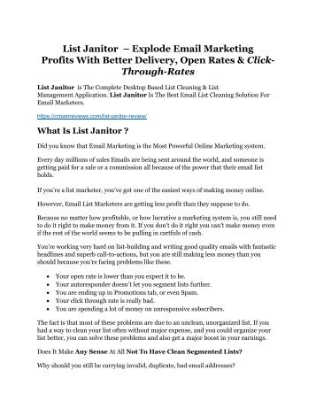 List Janitor Review-$24,700 BONUS & DISCOUNT NOW