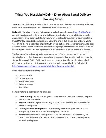 pressrelease on Parcel delivery booking script pdf