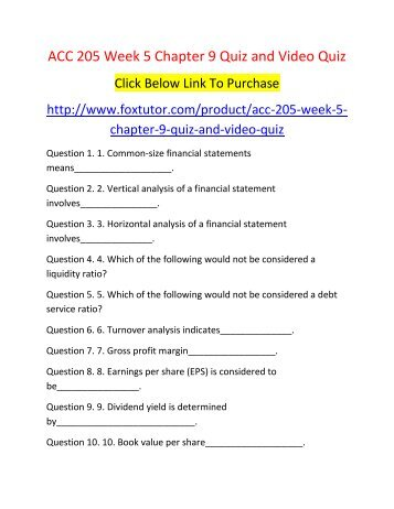 ACC 205 Week 5 Chapter 9 Quiz and Video Quiz