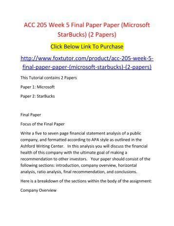 acc 205 week 5 final paper paper microsoft starbucks 2 papers