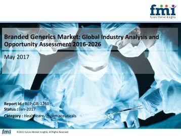 Branded Generics Market will reach at a CAGR of 7.3% through 2026