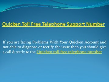Quicken toll free telephone support