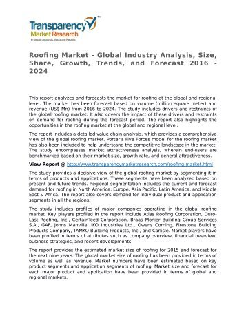 Roofing Market - Global Industry Analysis, Size, Share, Growth, Trends, and Forecast 2016 - 2024