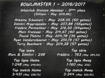 Results Bowlmaster 1 - 2016-2017