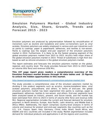 Emulsion Polymers Market - Global Industry Analysis, Size, Share, Growth, Trends and Forecast 2015 - 2023