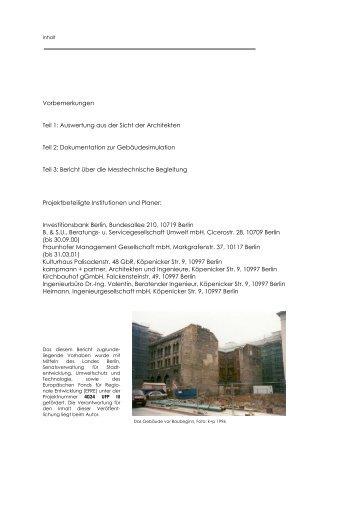 Vorbemerkungen Teil 1: Auswertung aus der Sicht der Architekten ...