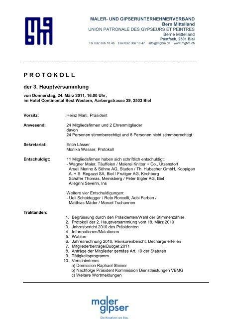protokoll - Maler- und Gipserunternehmerverbandes Bern Mittelland