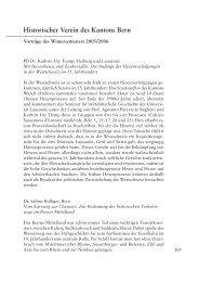 Historischer Verein des Kantons Bern - Berner Zeitschrift für ...