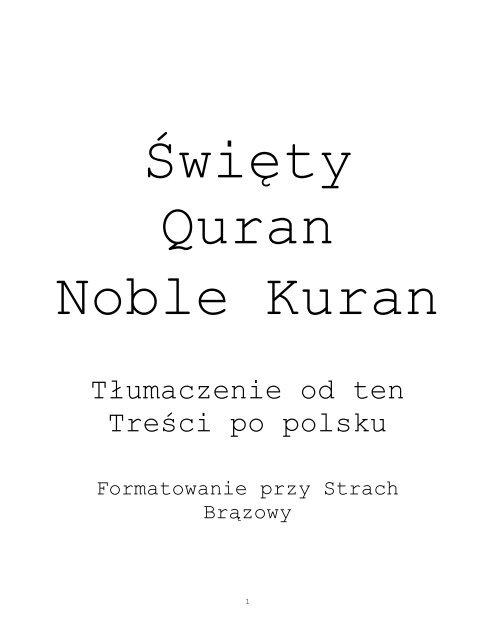 Polish translation of the Quran