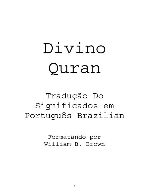 Portuguese translation of the Quran (1)
