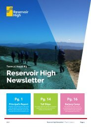 Reservoir High Newsletter 2017 term 2 Issue 3