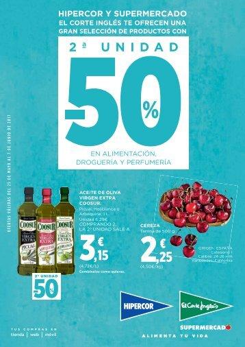 Catálogo Hipercor -50% 2ª Uunidad hasta el 7 de Junio 2017