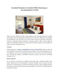 Essential Elements to Consider While Choosing an Accommodation in Perth