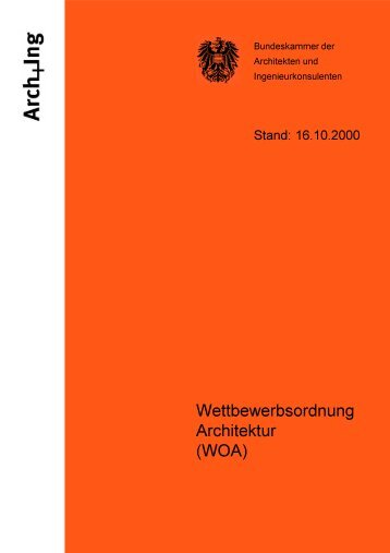 Wettbewerbsordnung Architektur (WOA) - Kammer der Architekten ...