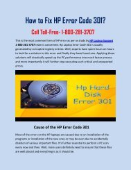How To Fix HP Error Code 301 Call 1-800-281-3707