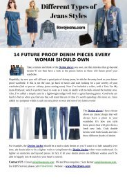 Ilovejeans Denim Different Types of Jeans styles