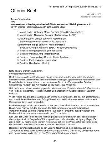 Offener Brief - Zu Pusdorf-online.de