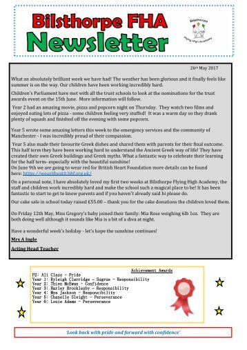 BFHA - Newsletter No 31 26.05.2017