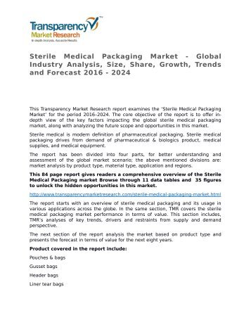 Sterile Medical Packaging Market - Global Industry Analysis, Size, Share, Growth, Trends and Forecast 2016 - 2024