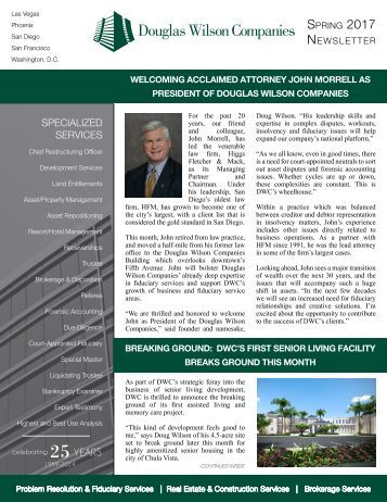 Douglas Wilson Companies Spring 2017 Newsletter