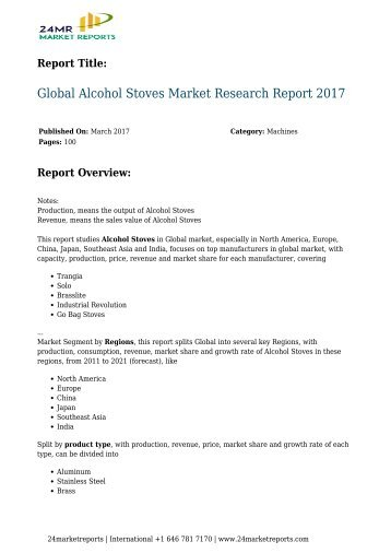 Global Alcohol Stoves Market Research Report 2017