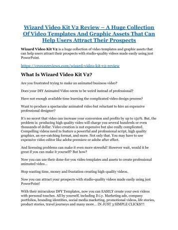 Wizard Video Kit V2 REVIEW & Wizard Video Kit V2 (SECRET) Bonuses