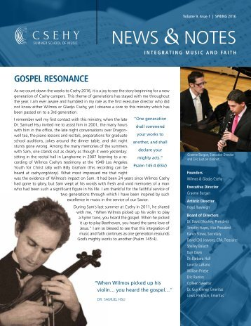 Csehy News & Notes (Volume 9, Issue 1 - Spring 2016)
