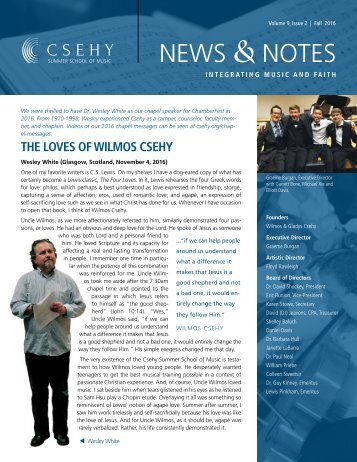 Csehy News & Notes (Volume 9, Issue 2 - Fall 2016)