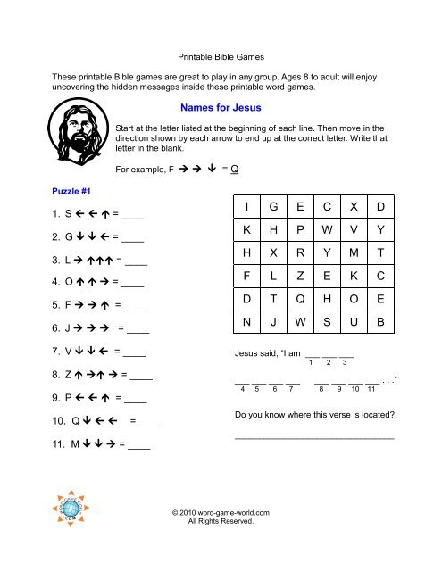 image about Bible Games for Adults Printable titled printable-bible-online games-names-for-jesus
