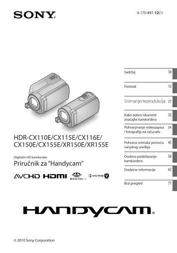 Sony HDR-CX116E - HDR-CX116E Mode d'emploi Croate