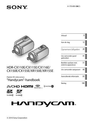 Sony HDR-CX116E - HDR-CX116E Consignes d'utilisation Néerlandais