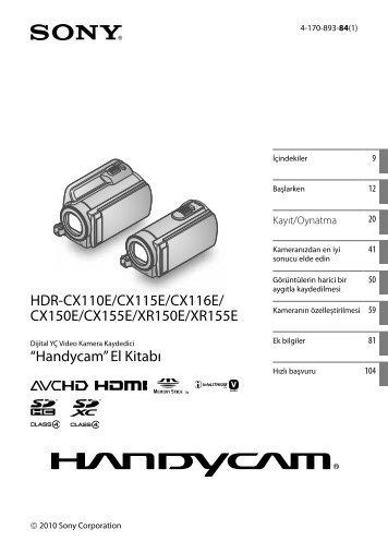 Sony HDR-CX116E - HDR-CX116E Consignes d'utilisation Turc
